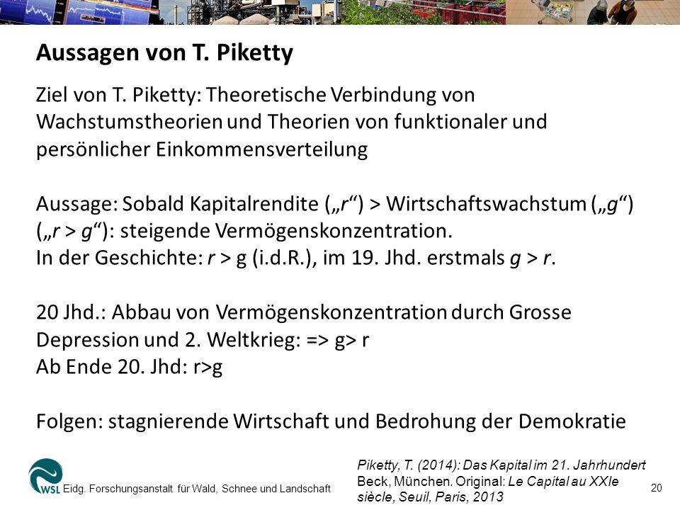 20 Eidg. Forschungsanstalt für Wald, Schnee und Landschaft Aussagen von T. Piketty Ziel von T. Piketty: Theoretische Verbindung von Wachstumstheorien