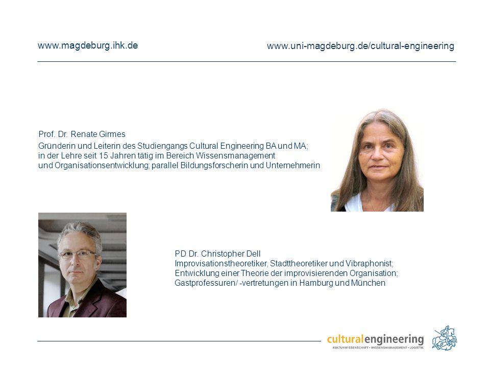www.magdeburg.ihk.de www.uni-magdeburg.de/cultural-engineering Prof. Dr. Renate Girmes Gründerin und Leiterin des Studiengangs Cultural Engineering BA