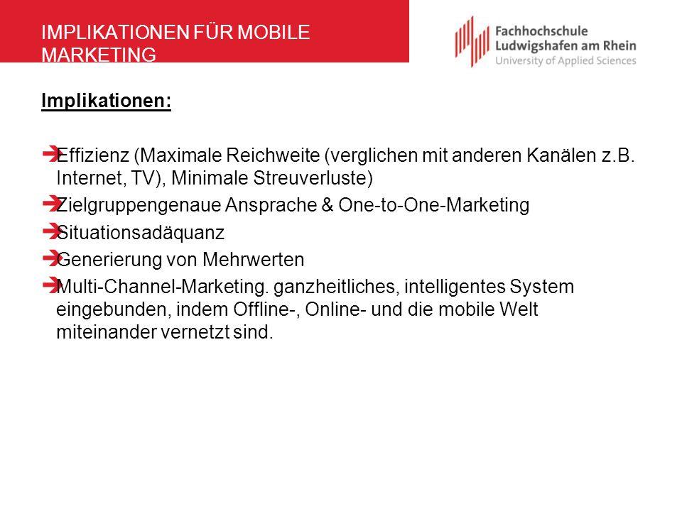 IMPLIKATIONEN FÜR MOBILE MARKETING Implikationen:  Effizienz (Maximale Reichweite (verglichen mit anderen Kanälen z.B. Internet, TV), Minimale Streuv