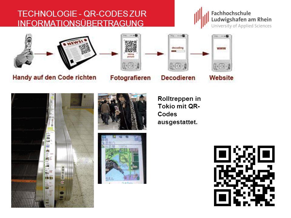 TECHNOLOGIE - QR-CODES ZUR INFORMATIONSÜBERTRAGUNG Rolltreppen in Tokio mit QR- Codes ausgestattet.