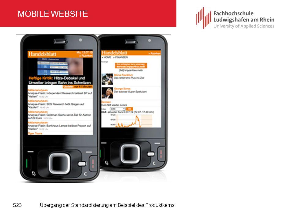 MOBILE WEBSITE Übergang der Standardisierung am Beispiel des ProduktkernsS23