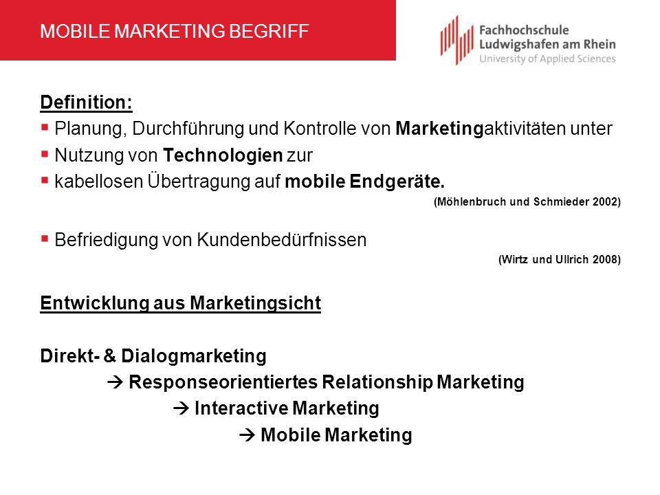 MOBILE MARKETING BEGRIFF Definition:  Planung, Durchführung und Kontrolle von Marketingaktivitäten unter  Nutzung von Technologien zur  kabellosen