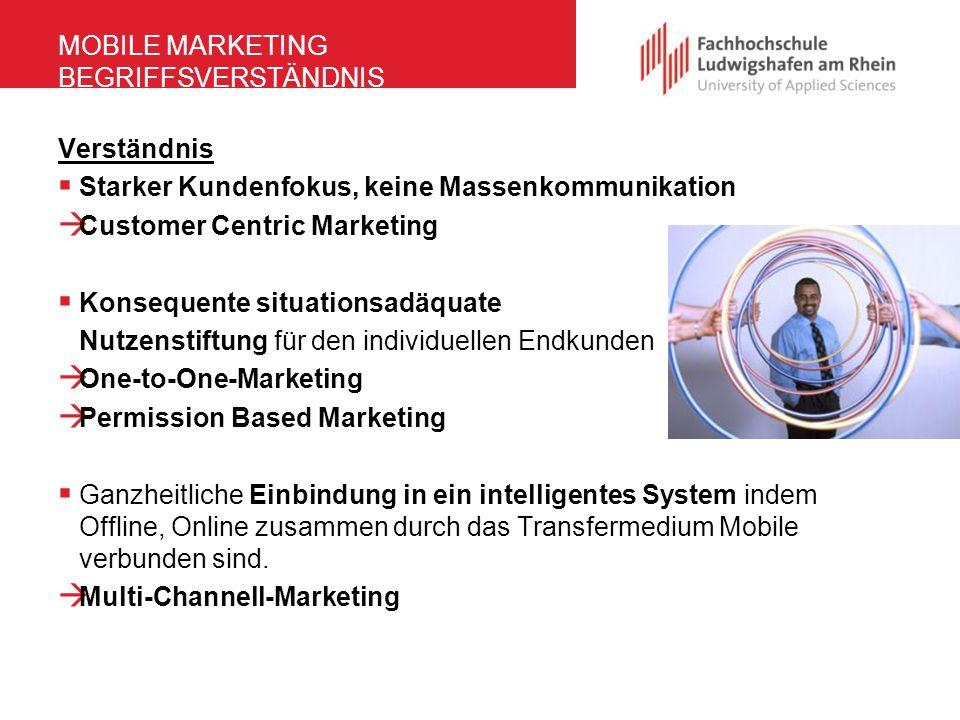 MOBILE MARKETING BEGRIFFSVERSTÄNDNIS Verständnis  Starker Kundenfokus, keine Massenkommunikation  Customer Centric Marketing  Konsequente situation