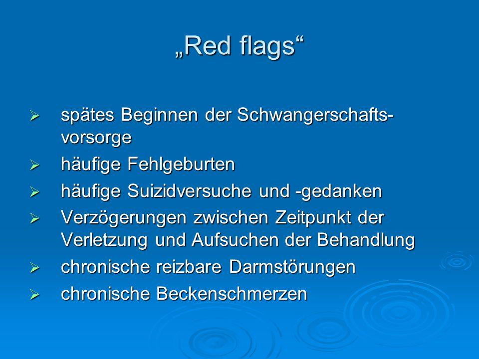 """""""Red flags""""  spätes Beginnen der Schwangerschafts- vorsorge  häufige Fehlgeburten  häufige Suizidversuche und -gedanken  Verzögerungen zwischen Ze"""
