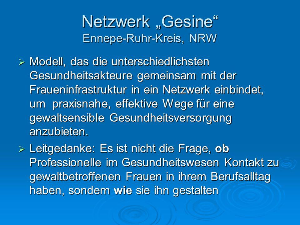 """Netzwerk """"Gesine"""" Ennepe-Ruhr-Kreis, NRW  Modell, das die unterschiedlichsten Gesundheitsakteure gemeinsam mit der Fraueninfrastruktur in ein Netzwer"""