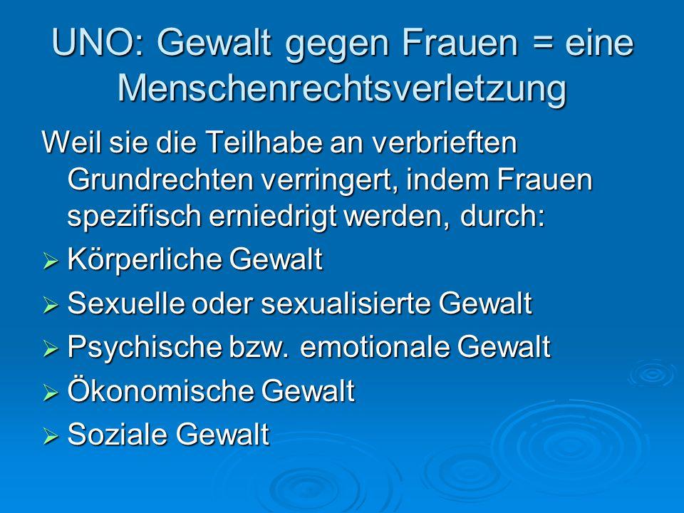UNO: Gewalt gegen Frauen = eine Menschenrechtsverletzung Weil sie die Teilhabe an verbrieften Grundrechten verringert, indem Frauen spezifisch erniedr