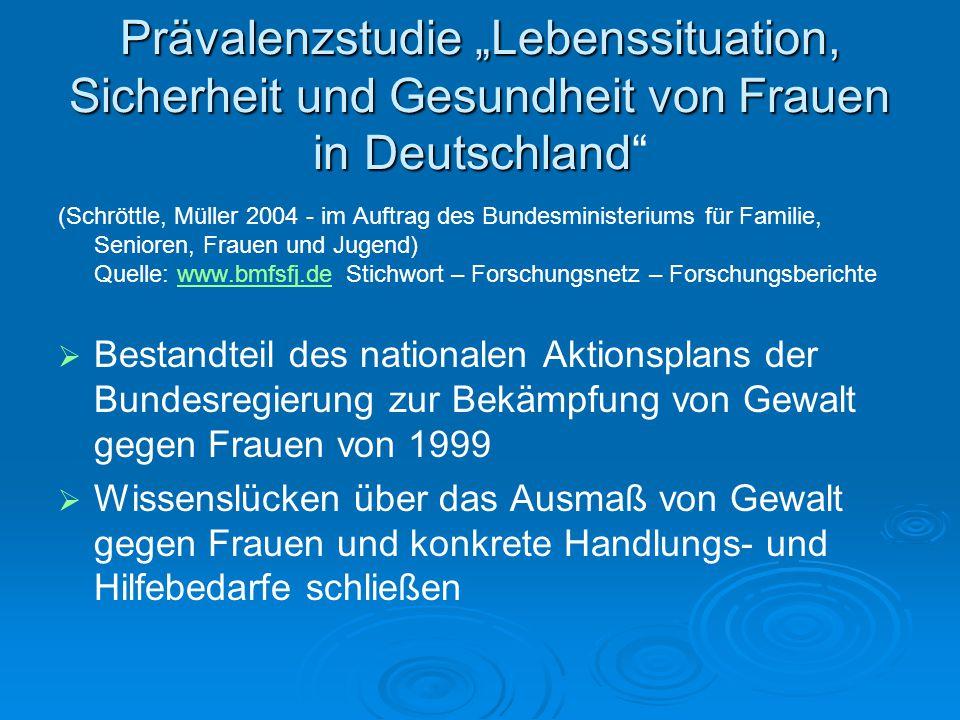"""Prävalenzstudie """"Lebenssituation, Sicherheit und Gesundheit von Frauen in Deutschland Prävalenzstudie """"Lebenssituation, Sicherheit und Gesundheit von"""
