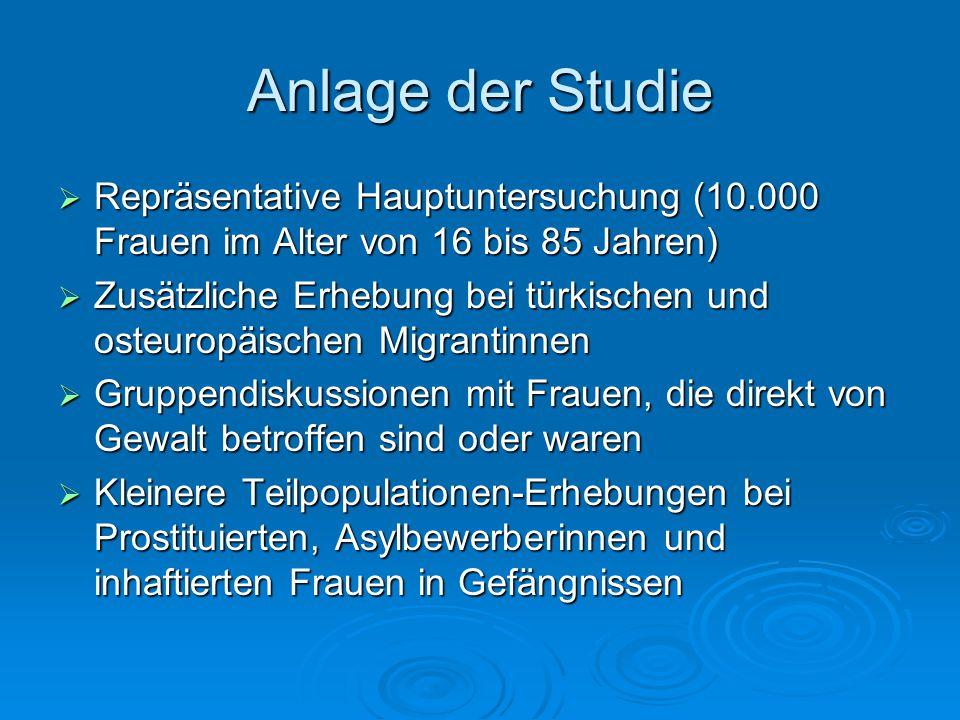 Anlage der Studie  Repräsentative Hauptuntersuchung (10.000 Frauen im Alter von 16 bis 85 Jahren)  Zusätzliche Erhebung bei türkischen und osteuropä
