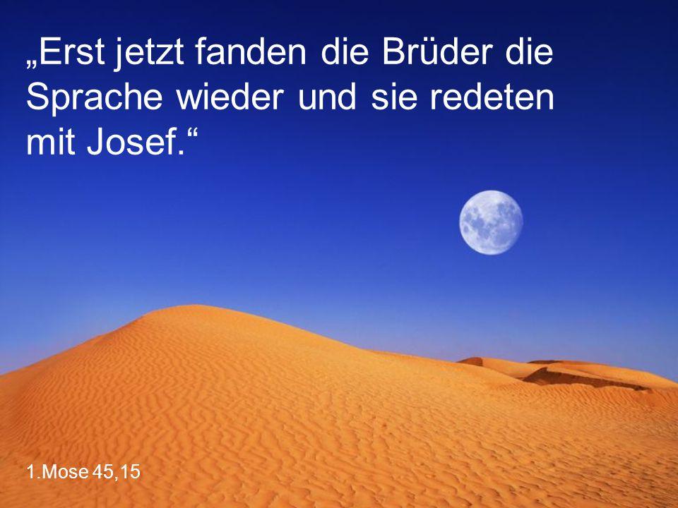 """1.Mose 45,15 """"Erst jetzt fanden die Brüder die Sprache wieder und sie redeten mit Josef."""