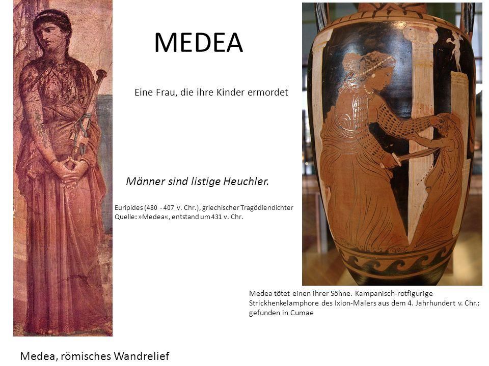 MEDEA Eine Frau, die ihre Kinder ermordet Medea, römisches Wandrelief Medea tötet einen ihrer Söhne. Kampanisch-rotfigurige Strickhenkelamphore des Ix