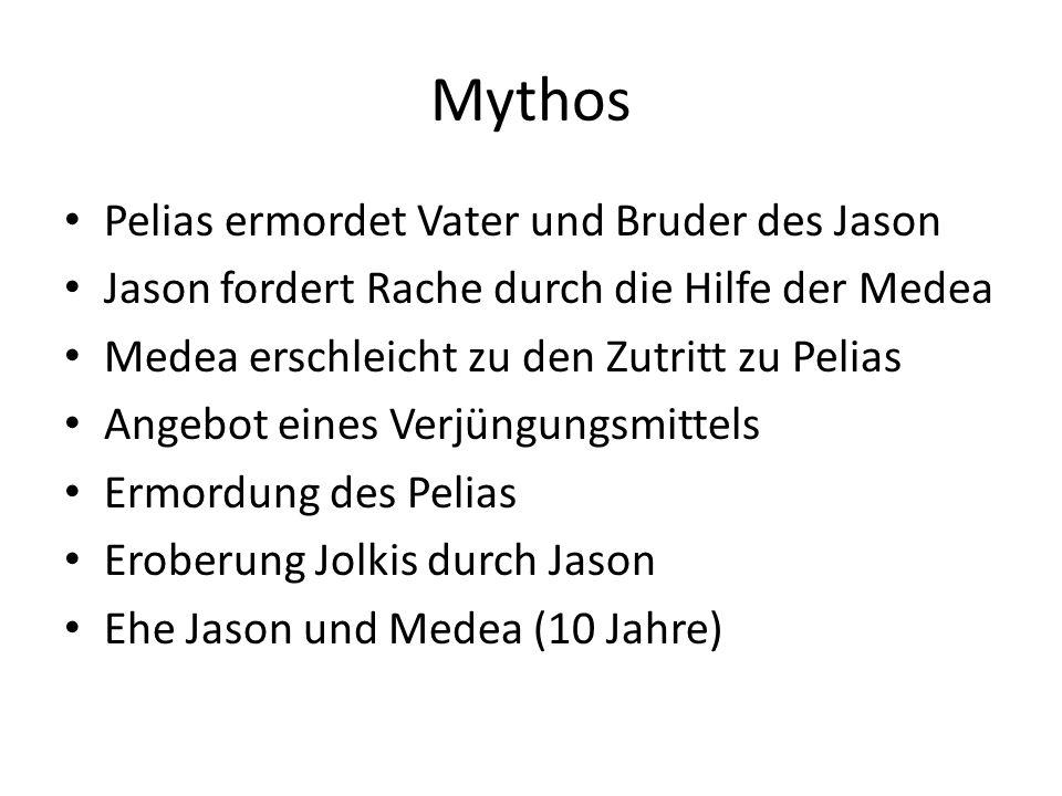 Mythos Pelias ermordet Vater und Bruder des Jason Jason fordert Rache durch die Hilfe der Medea Medea erschleicht zu den Zutritt zu Pelias Angebot ein