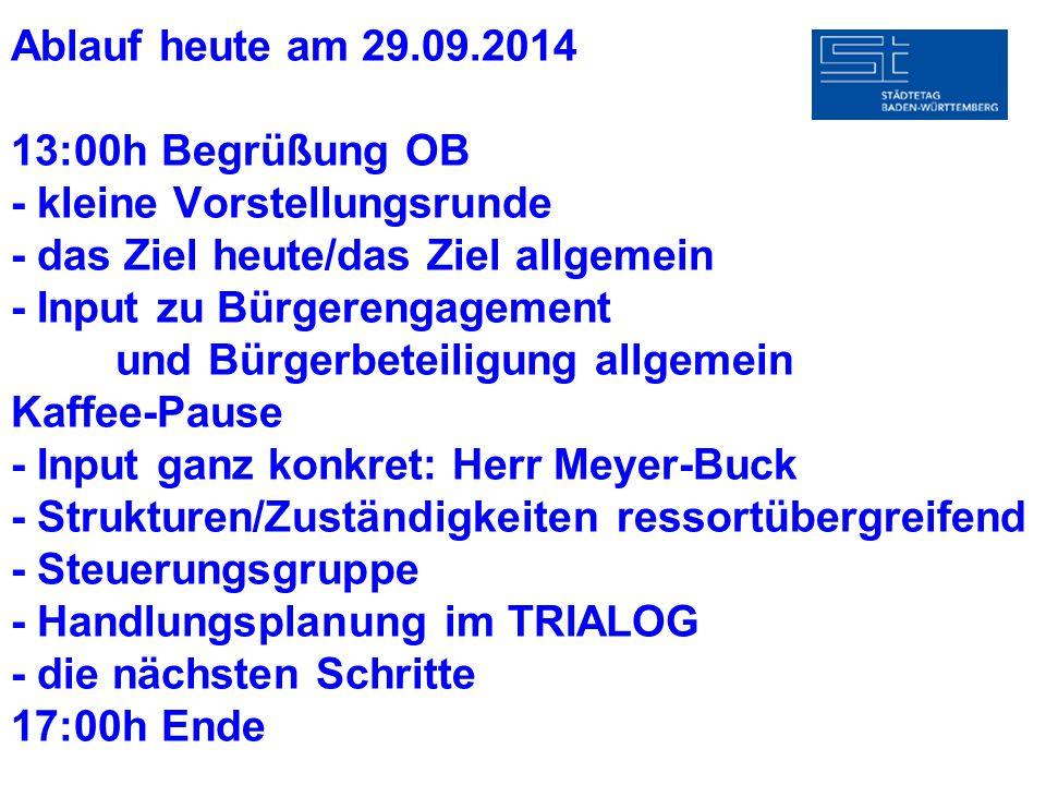 Ablauf heute am 29.09.2014 13:00h Begrüßung OB - kleine Vorstellungsrunde - das Ziel heute/das Ziel allgemein - Input zu Bürgerengagement und Bürgerbe