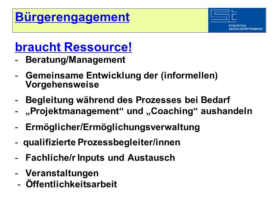 Bürgerengagement braucht Ressource.