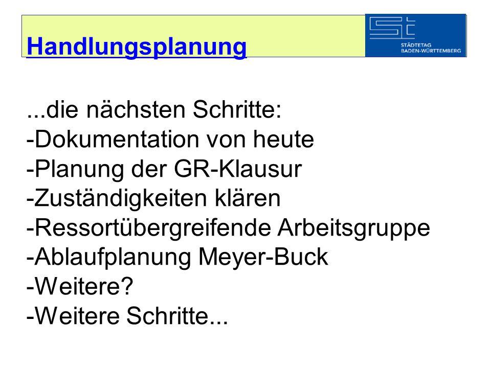 Handlungsplanung...die nächsten Schritte: -Dokumentation von heute -Planung der GR-Klausur -Zuständigkeiten klären -Ressortübergreifende Arbeitsgruppe -Ablaufplanung Meyer-Buck -Weitere.