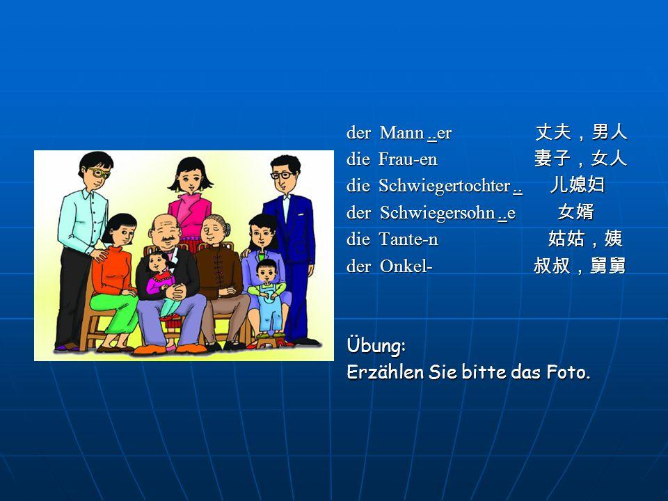 2 Ergänzen Sie.Mein Name ist Wu. (1)____ Eltern wohnen in Kaifeng.