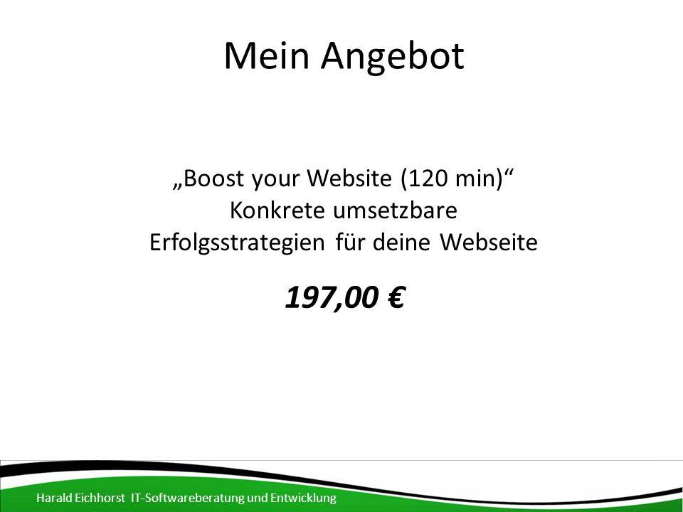 """Mein Angebot Harald Eichhorst IT-Softwareberatung und Entwicklung """"Boost your Website (120 min) Konkrete umsetzbare Erfolgsstrategien für deine Webseite 197,00 €"""