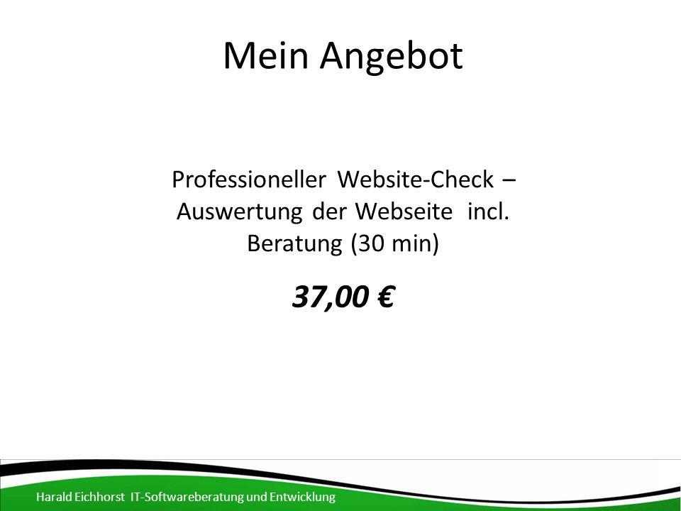 Mein Angebot Harald Eichhorst IT-Softwareberatung und Entwicklung Professioneller Website-Check – Auswertung der Webseite incl.
