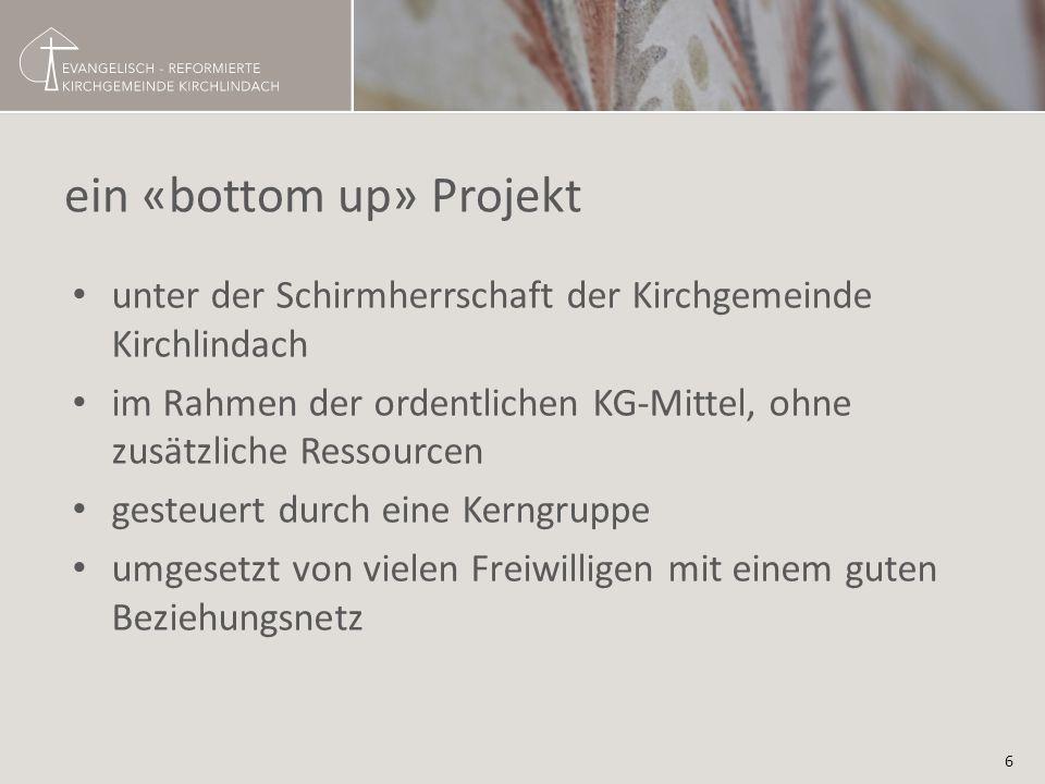 ein «bottom up» Projekt unter der Schirmherrschaft der Kirchgemeinde Kirchlindach im Rahmen der ordentlichen KG-Mittel, ohne zusätzliche Ressourcen gesteuert durch eine Kerngruppe umgesetzt von vielen Freiwilligen mit einem guten Beziehungsnetz 6