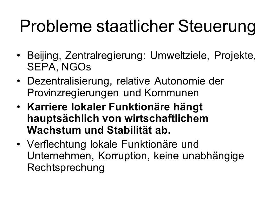 Probleme staatlicher Steuerung Beijing, Zentralregierung: Umweltziele, Projekte, SEPA, NGOs Dezentralisierung, relative Autonomie der Provinzregierung