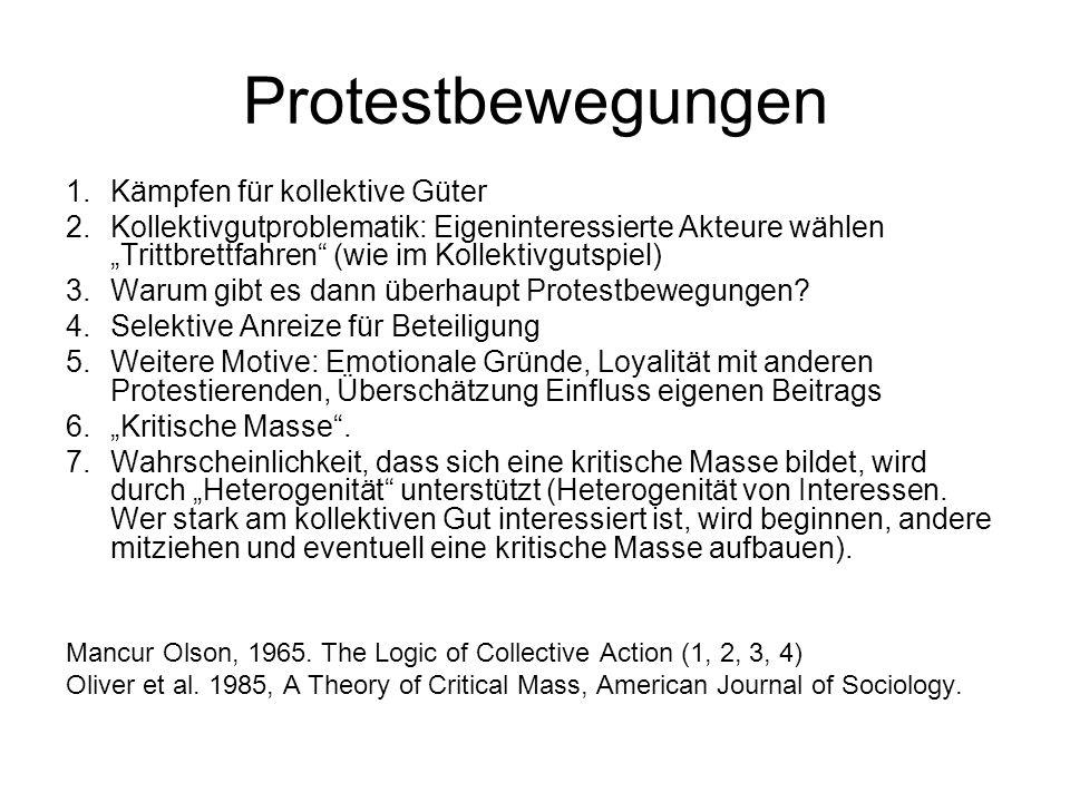 """Protestbewegungen 1.Kämpfen für kollektive Güter 2.Kollektivgutproblematik: Eigeninteressierte Akteure wählen """"Trittbrettfahren"""" (wie im Kollektivguts"""