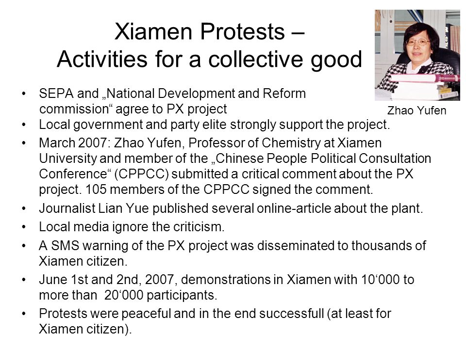 """Zhao Dagong, THE XIAMEN DEMONSTRATIONS AND GROWING CIVIL CONSCIOUSNESS, China rights Forum 3/2007 """"Before the demonstration,more than one million Xiamen citizens sent out cell-phone text messages opposing the PX chemical factory project."""