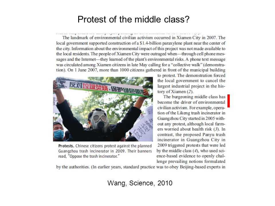 Wang, Science, 2010 Protest of the middle class