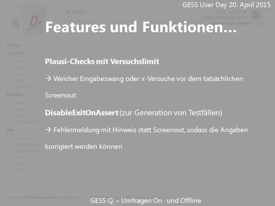 GESS Q.– Umfragen On- und Offline GESS User Day 20.
