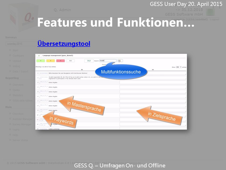 GESS Q. – Umfragen On- und Offline GESS User Day 20. April 2015 Features und Funktionen… Übersetzungstool