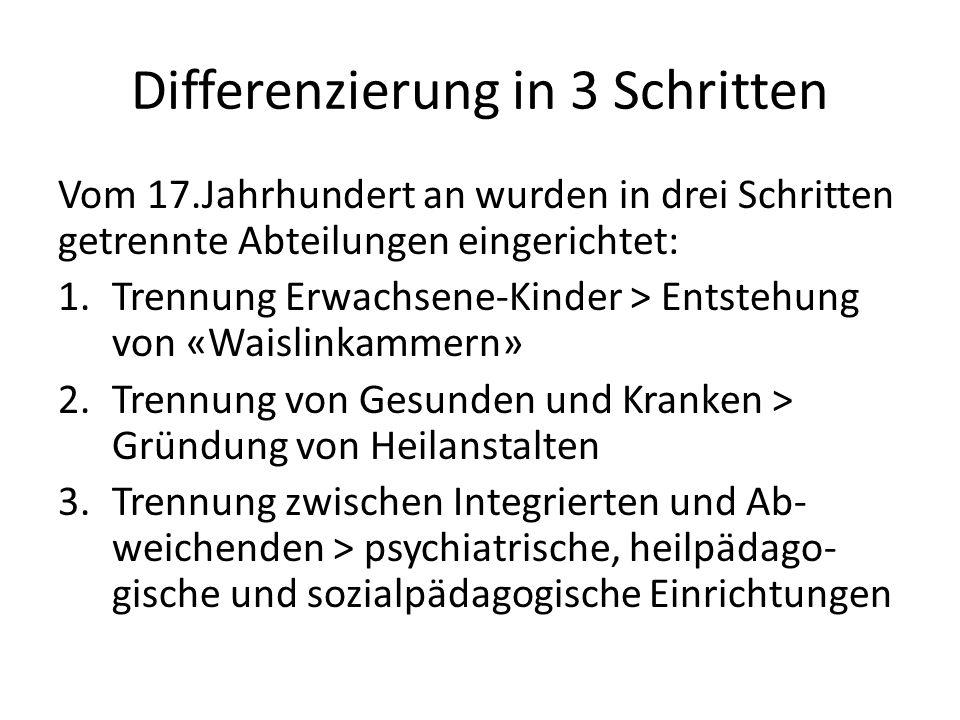 Differenzierung in 3 Schritten Vom 17.Jahrhundert an wurden in drei Schritten getrennte Abteilungen eingerichtet: 1.Trennung Erwachsene-Kinder > Entst