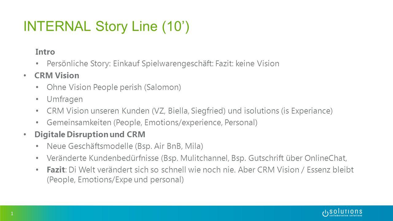 Intro Persönliche Story: Einkauf Spielwarengeschäft: Fazit: keine Vision CRM Vision Ohne Vision People perish (Salomon) Umfragen CRM Vision unseren Ku