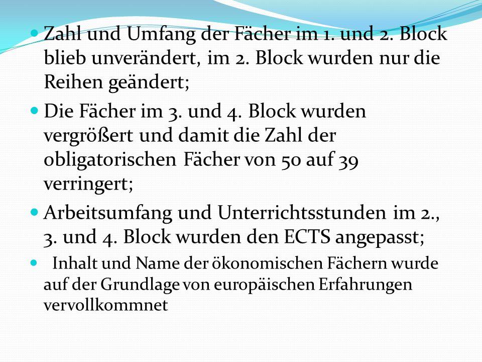 Zahl und Umfang der Fächer im 1. und 2. Block blieb unverändert, im 2. Block wurden nur die Reihen geändert; Die Fächer im 3. und 4. Block wurden verg