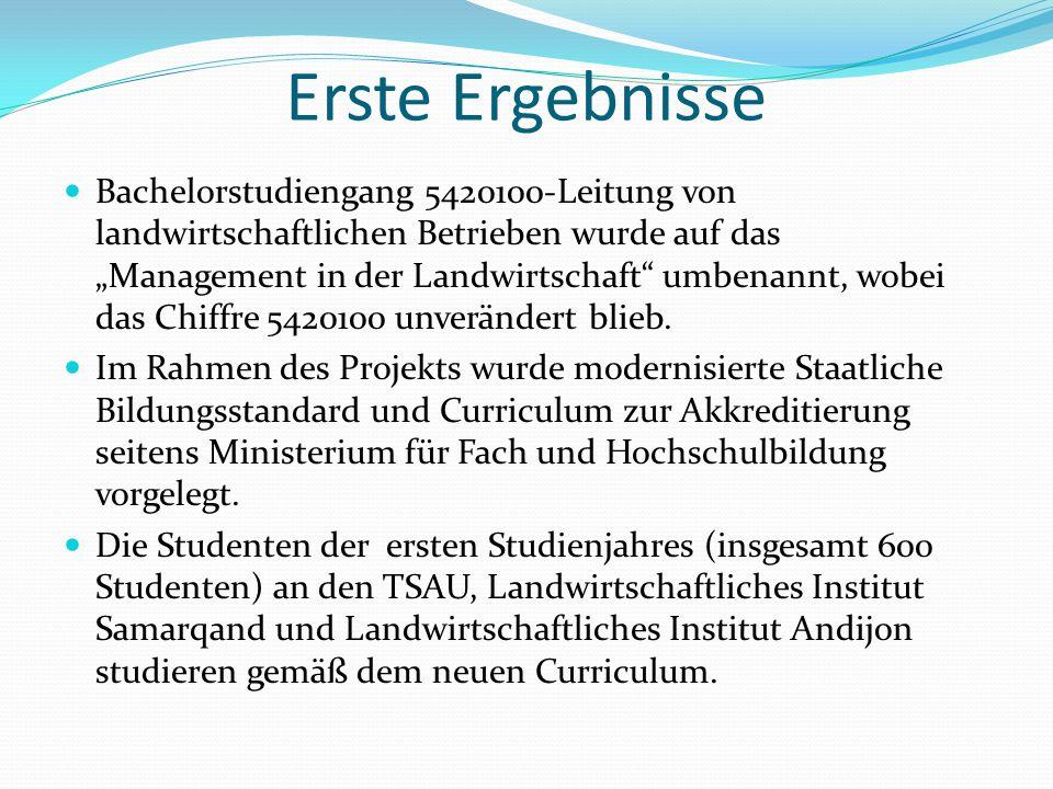 """Erste Ergebnisse Bachelorstudiengang 5420100-Leitung von landwirtschaftlichen Betrieben wurde auf das """"Management in der Landwirtschaft"""" umbenannt, wo"""
