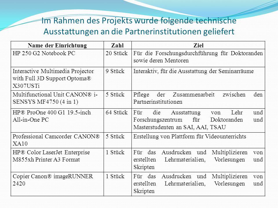 Im Rahmen des Projekts wurde folgende technische Ausstattungen an die Partnerinstitutionen geliefert Name der EinrichtungZahlZiel HP 250 G2 Notebook P