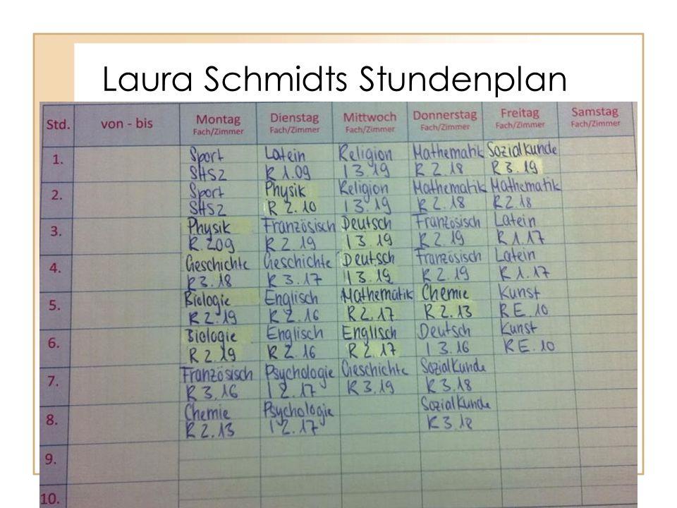 Laura Schmidts Stundenplan