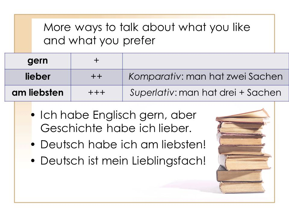 More ways to talk about what you like and what you prefer Ich habe Englisch gern, aber Geschichte habe ich lieber. Deutsch habe ich am liebsten! Deuts