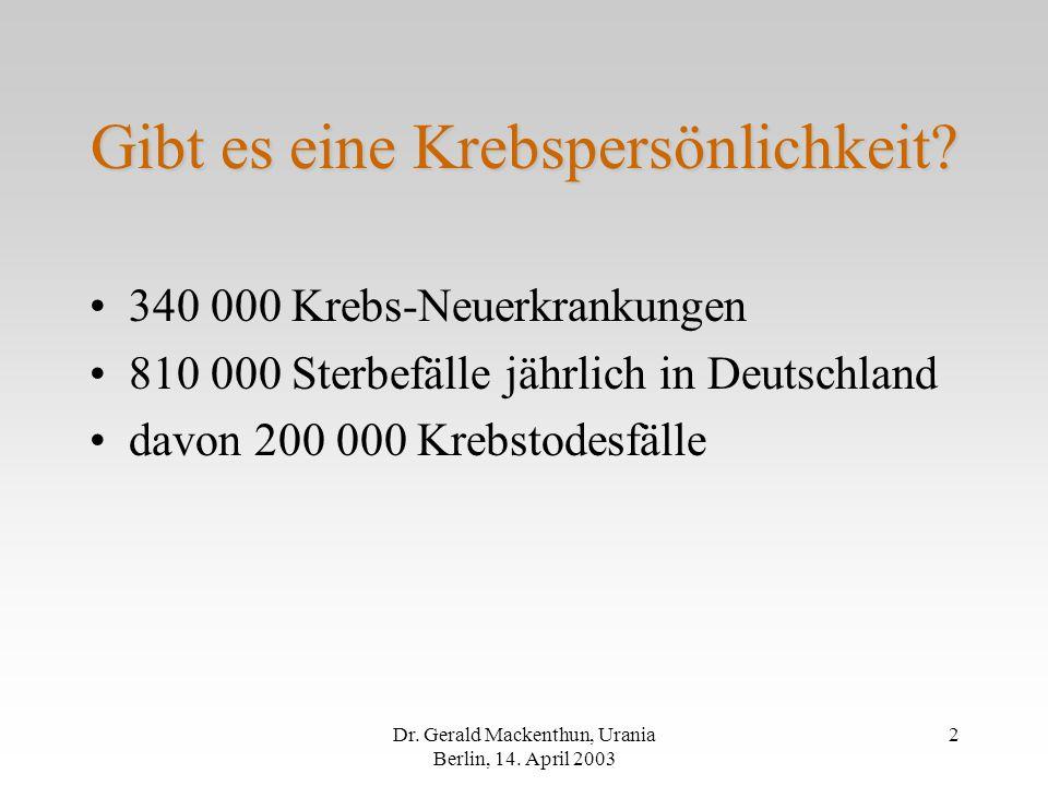 Dr.Gerald Mackenthun, Urania Berlin, 14. April 2003 2 Gibt es eine Krebspersönlichkeit.