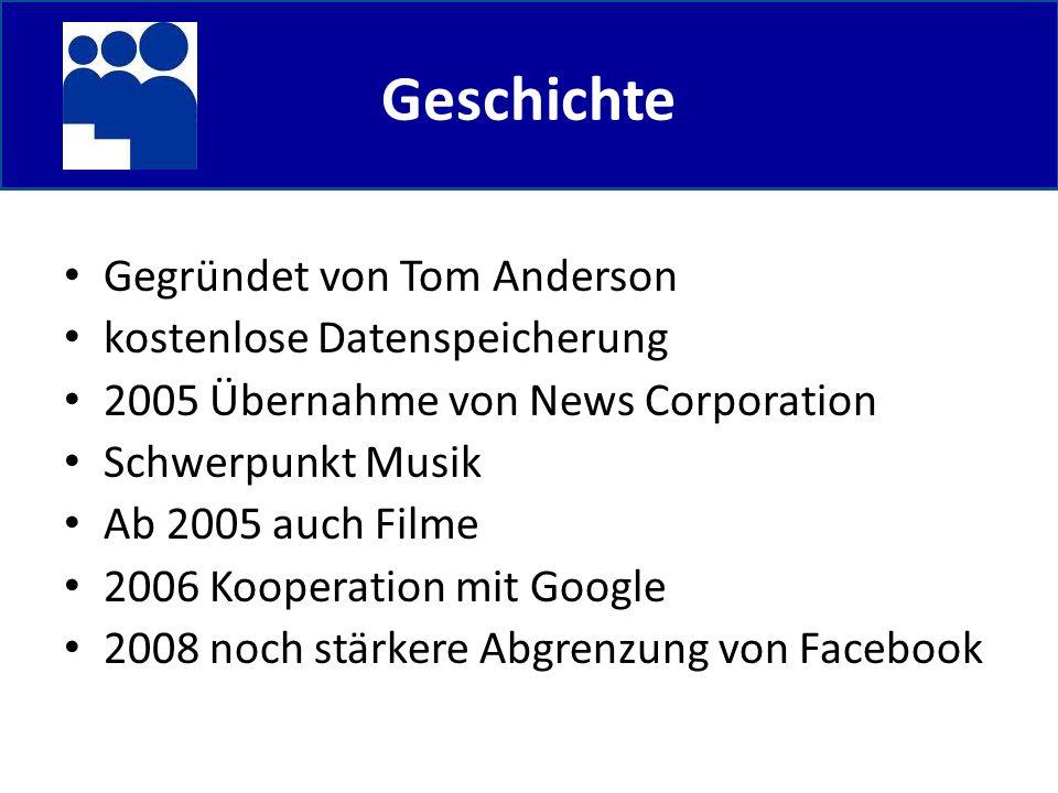 Geschichte Gegründet von Tom Anderson kostenlose Datenspeicherung 2005 Übernahme von News Corporation Schwerpunkt Musik Ab 2005 auch Filme 2006 Kooperation mit Google 2008 noch stärkere Abgrenzung von Facebook