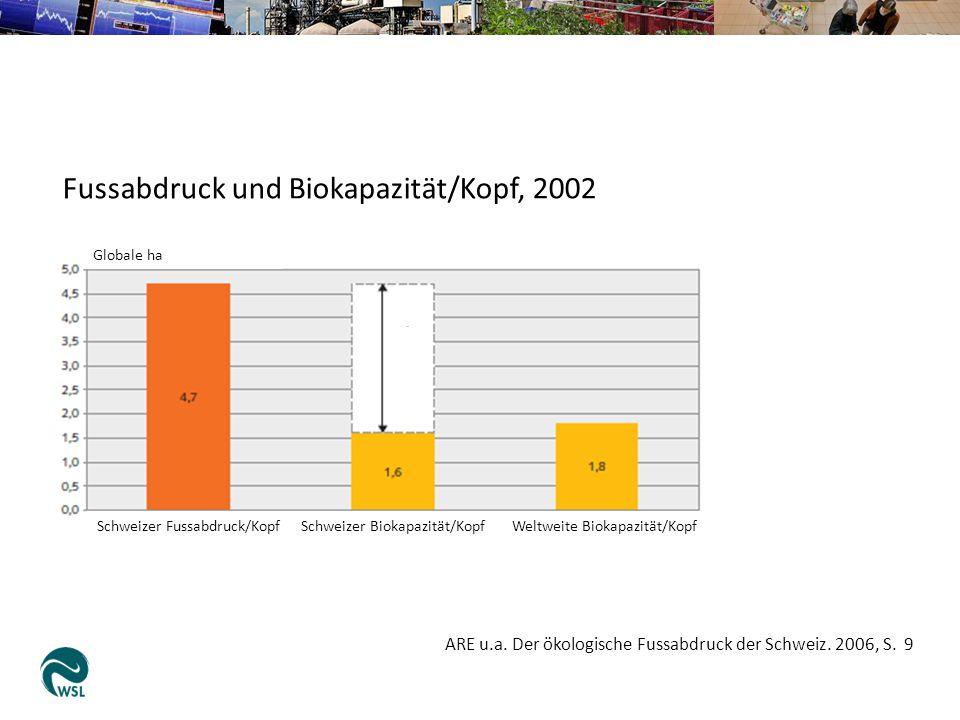 Fussabdruck und Biokapazität/Kopf, 2002 Globale ha Schweizer Fussabdruck/KopfSchweizer Biokapazität/KopfWeltweite Biokapazität/Kopf ARE u.a. Der ökolo