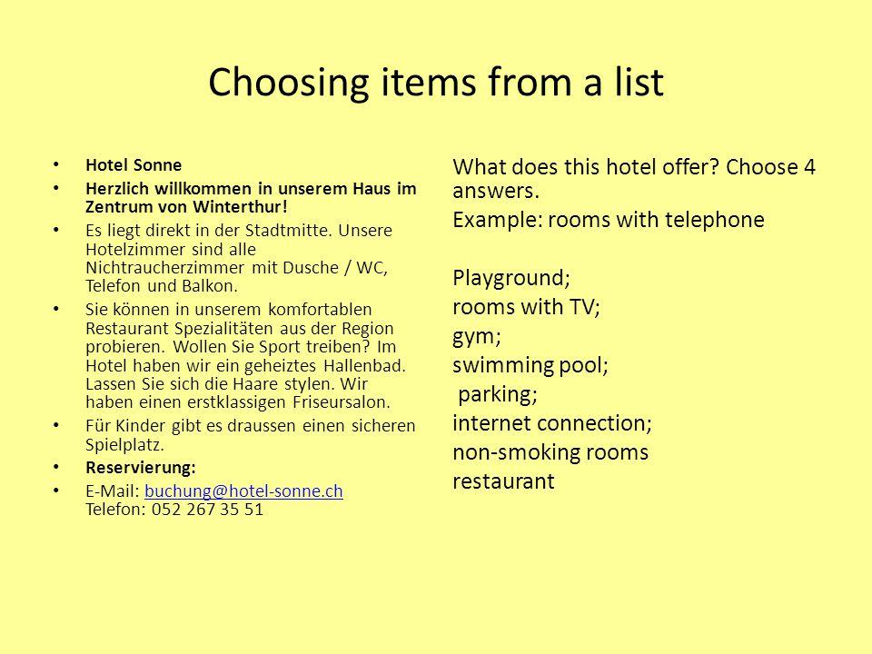 Choosing items from a list Hotel Sonne Herzlich willkommen in unserem Haus im Zentrum von Winterthur.