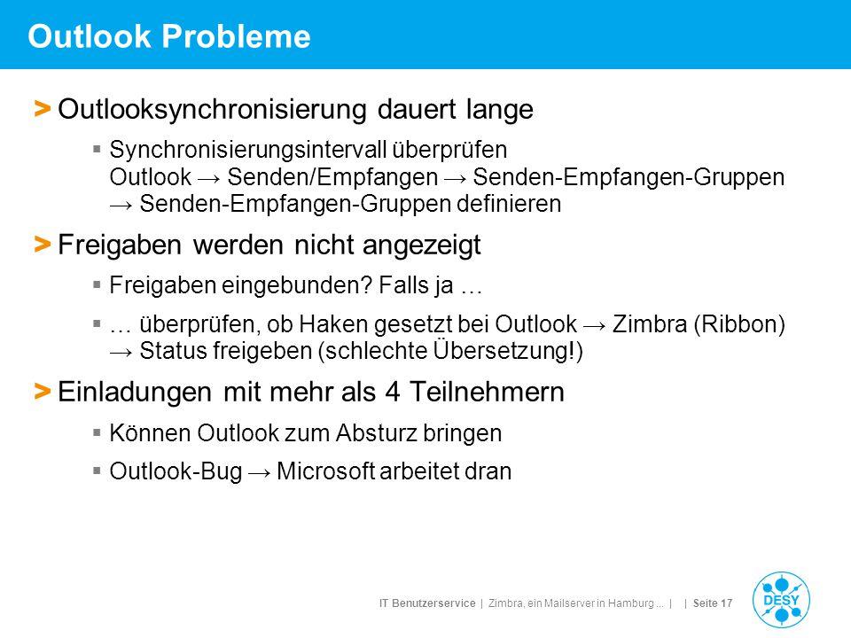 IT Benutzerservice | Zimbra, ein Mailserver in Hamburg... | | Seite 17 Outlook Probleme > Outlooksynchronisierung dauert lange  Synchronisierungsinte