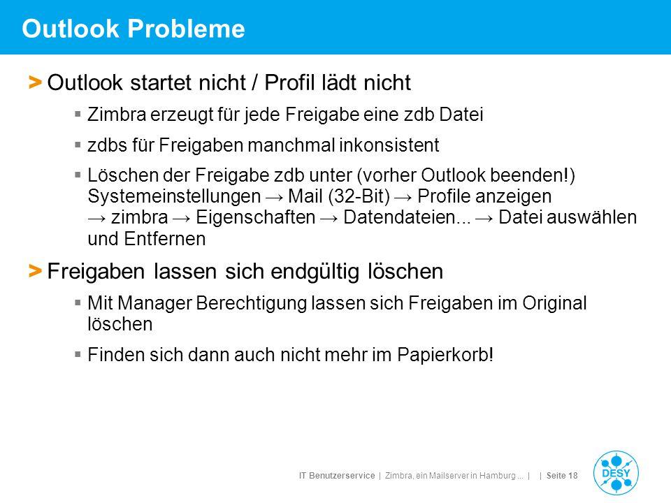 IT Benutzerservice | Zimbra, ein Mailserver in Hamburg... | | Seite 18 Outlook Probleme > Outlook startet nicht / Profil lädt nicht  Zimbra erzeugt f