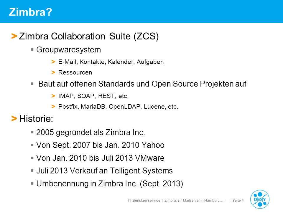 IT Benutzerservice | Zimbra, ein Mailserver in Hamburg...