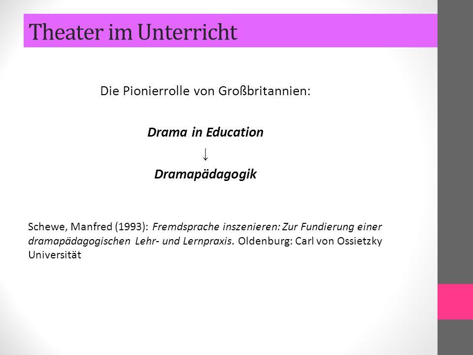 Die Pionierrolle von Großbritannien: Drama in Education ↓ Dramapädagogik Schewe, Manfred (1993): Fremdsprache inszenieren: Zur Fundierung einer dramap