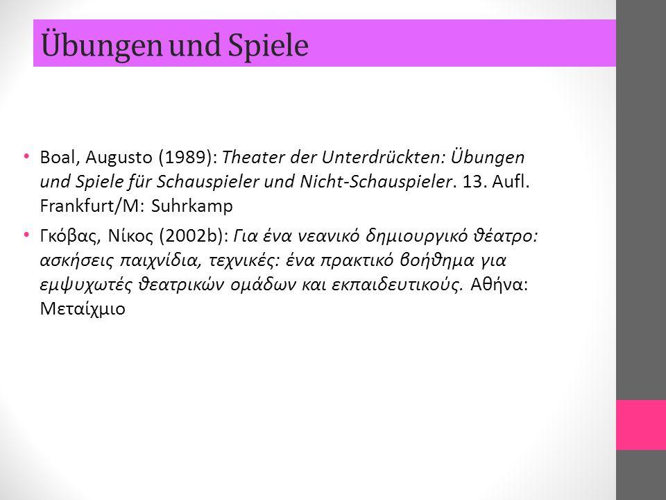 Boal, Augusto (1989): Theater der Unterdrückten: Übungen und Spiele für Schauspieler und Nicht-Schauspieler. 13. Aufl. Frankfurt/M: Suhrkamp Γκόβας, Ν