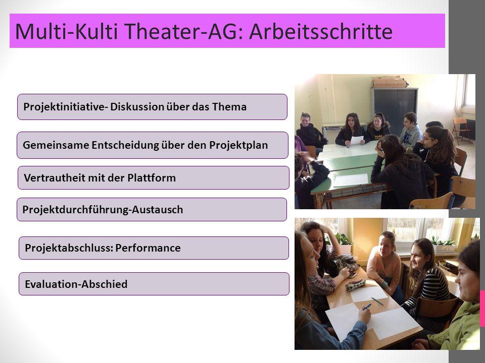 Projektinitiative- Diskussion über das Thema Gemeinsame Entscheidung über den Projektplan Multi-Kulti Theater-AG: Arbeitsschritte Projektdurchführung-