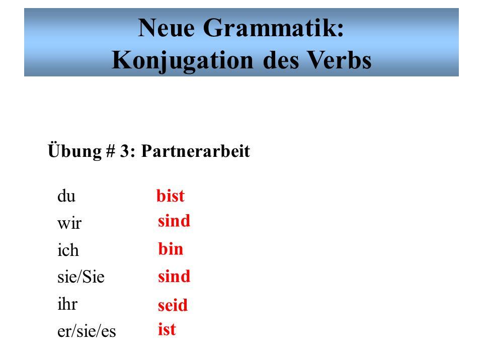 Neue Grammatik: Konjugation des Verbs Manchmal ist die Konjugation des Verbs irregulär: Iich youdu he/she/iter/sie/es wewir y'allihr theysie/Sie am ar