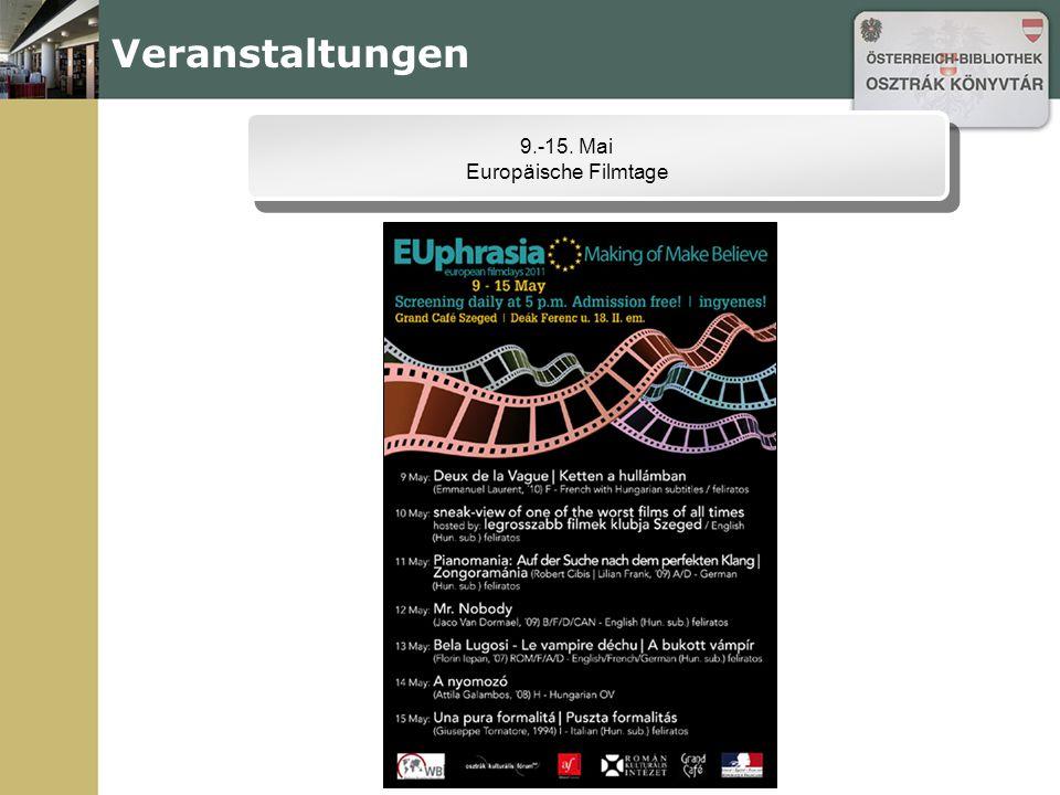 Veranstaltungen 9.-15. Mai Europäische Filmtage