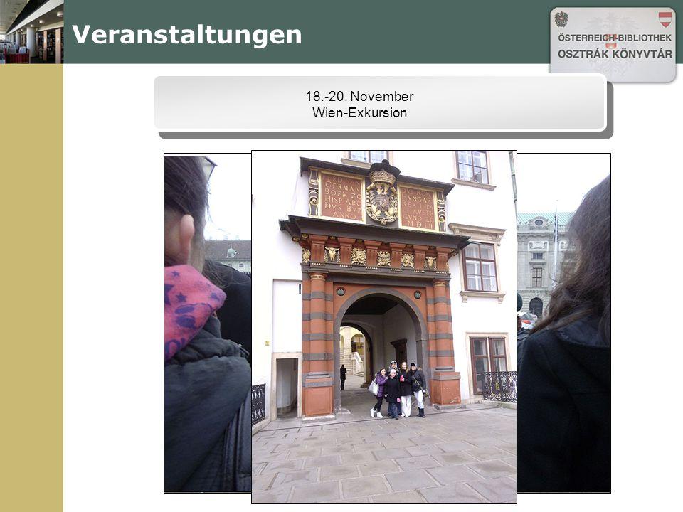 Veranstaltungen 18.-20. November Wien-Exkursion