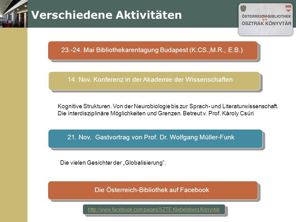 Veranstaltungen 29. November Österreichisch-ungarische kulturelle und lit. Beziehungen