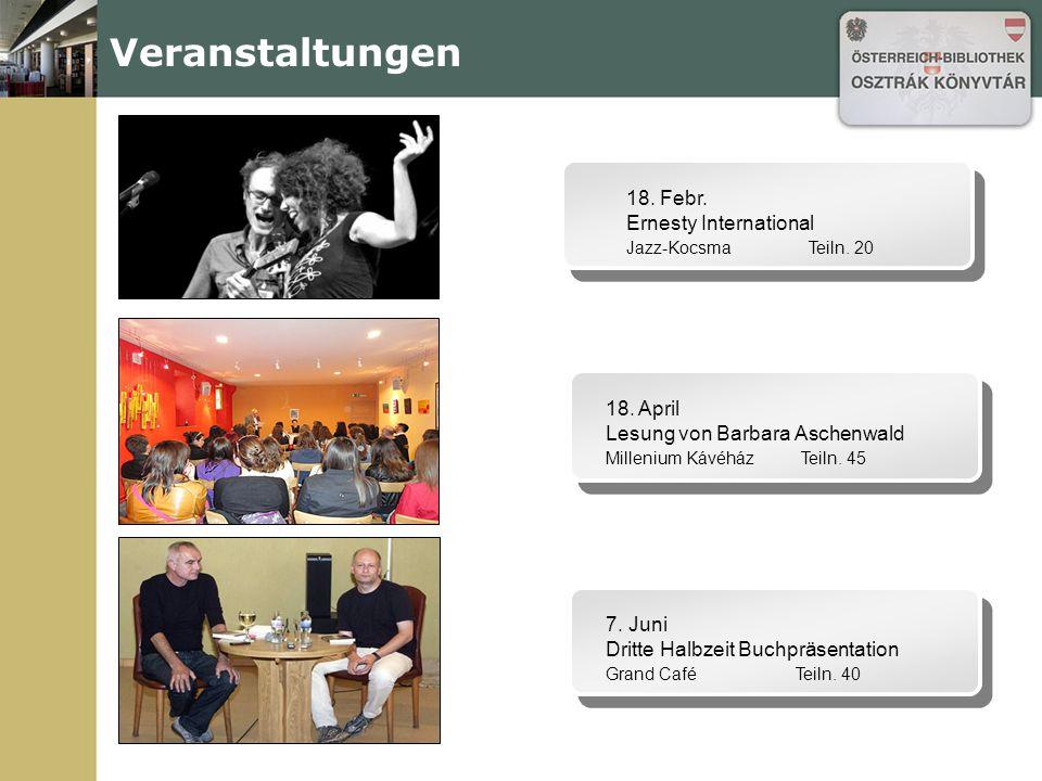 Veranstaltungen 18. Febr. Ernesty International Jazz-Kocsma Teiln.